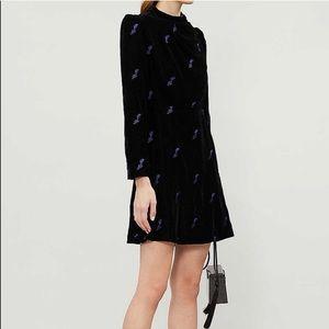 Maje NWT Velvet Floral Mock-neck Dress Black